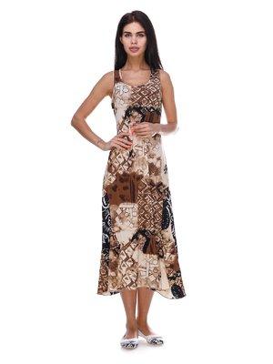 Платье бежево-коричневое с принтом | 3387704