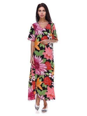 Платье черное с цветочным принтом | 3387757