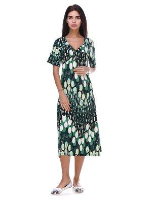 Платье зеленое в принт | 3387682