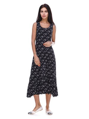 Платье черное с цветочным принтом | 3387754