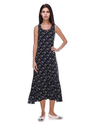 Платье черное в цветочный принт | 3387724