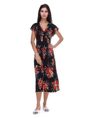 Сукня чорна з квітковим принтом | 3387677
