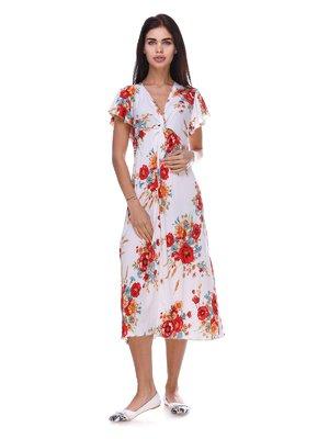 Платье белое с цветочным принтом | 3387714