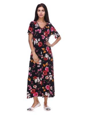 Сукня чорна з квітковим принтом | 3387708