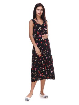 Сукня чорна з квітковим принтом | 3387691