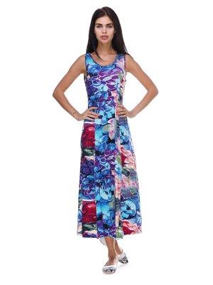 Платье голубое в принт | 3387703