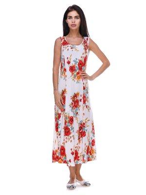 Платье белое с цветочным принтом | 3387718