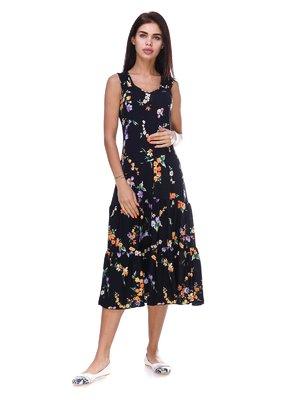 Платье черное с цветочным принтом | 3387707