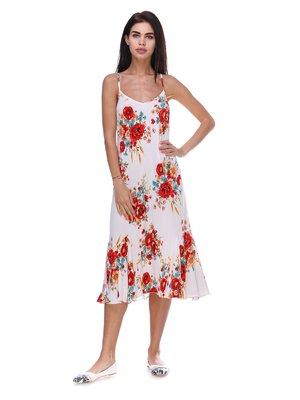 Сукня біла з квітковим принтом | 3387716