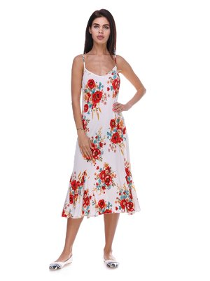 Платье белое с цветочным принтом | 3387715