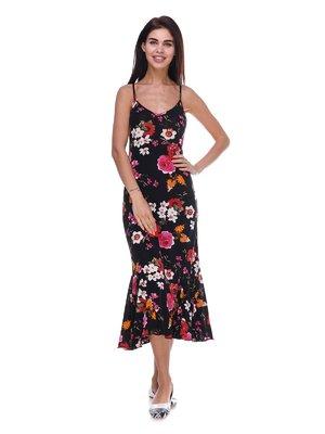 Платье черное с цветочным принтом | 3387739