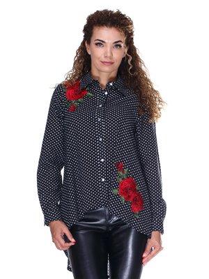 Черная коттоновая рубашка в горох с вышивкой | 3366130
