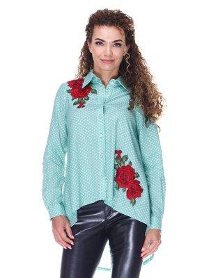 М'ятна котонова сорочка в горох з вишивкою | 3366131