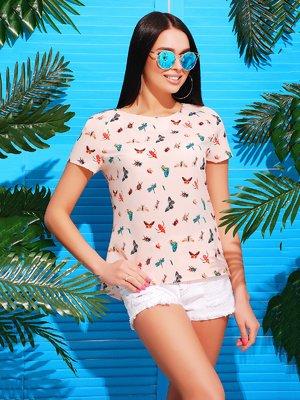 Блуза розовая в принт   3405642