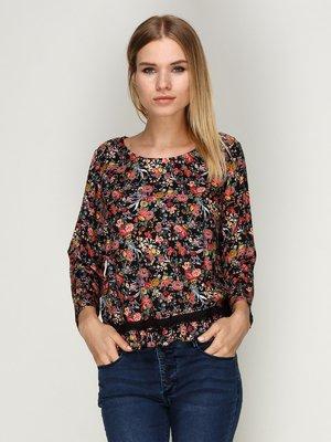 Блуза чорна з квітковим принтом | 3037794