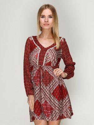 Сукня червона з принтом | 3010652