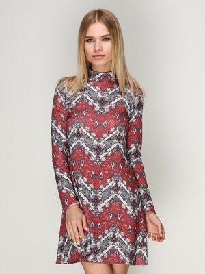Платье красное с принтом | 3010620
