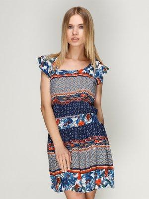 Платье синее в принт | 2992433