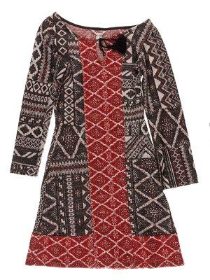 Сукня двоколірна з орнаментом | 3037793