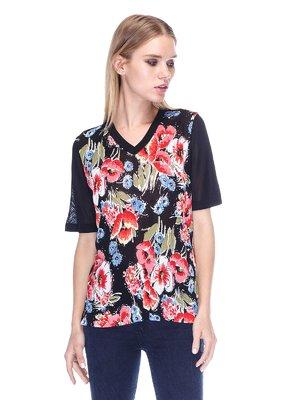 Пуловер чорний з квітковим принтом | 3400061