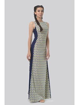 Платье сине-желтое в принт | 3409925