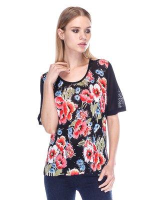Джемпер черный с цветочным принтом | 3400062