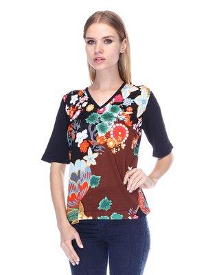 Пуловер черный с цветочным принтом | 3400059