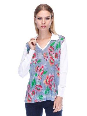 Пуловер в цветочный принт   3400040