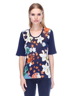 Джемпер темно-синий с цветочным принтом | 3400057