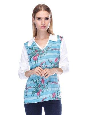 Пуловер в цветочный принт   3400039