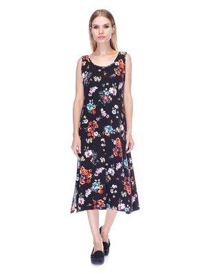 Сукня чорна в квітковий принт | 3387750