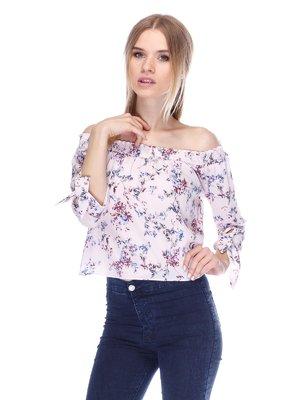 Блуза кольору пудри в квітковий принт | 3324820