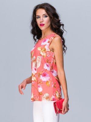 Блуза коралловая в цветочный принт | 2472959