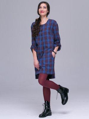 Платье сине-бордовое в клетку | 3063854