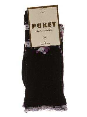 Носки черные с рисунком | 3406020