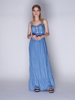 Сарафан синий с вышивкой | 3010162