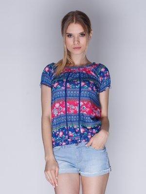 Блуза сине-красная с цветочным принтом | 3010392
