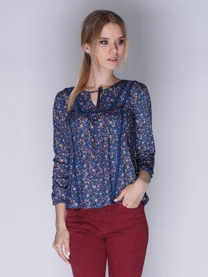 Блуза синяя с цветочным принтом | 3009355