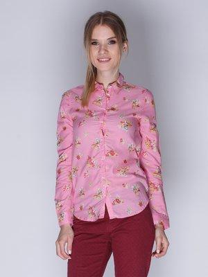 Рубашка розовая с цветочным принтом   3010015