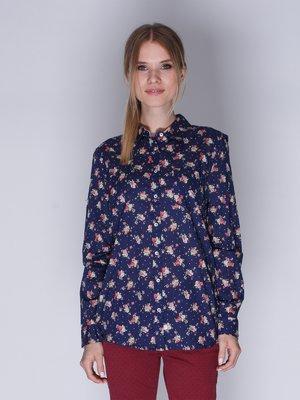 Рубашка синяя с цветочным принтом | 3009999