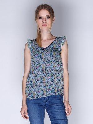 Блуза синяя в цветочный принт | 1899403