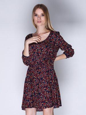 Сукня синя в квітковий принт | 2992428