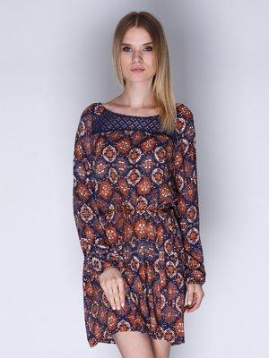 Платье синее с принтом | 3010616