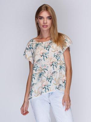 Блуза розовая в принт | 2992363