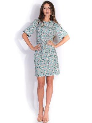 Платье бирюзовое в цветочный принт   3274255
