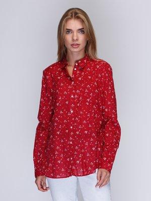 Рубашка красная с цветочным принтом | 3010012