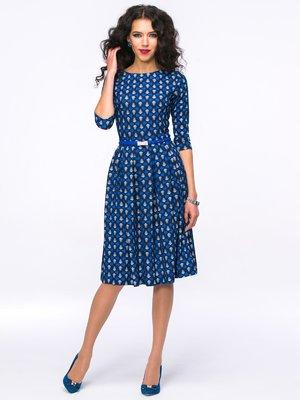 Платье синее в принт | 2652826