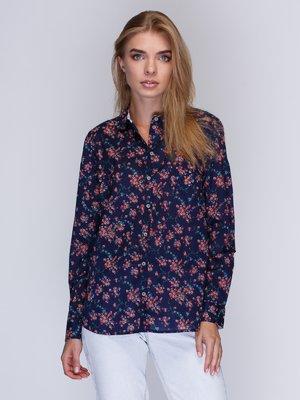 Рубашка синяя в цветочный принт | 2992355
