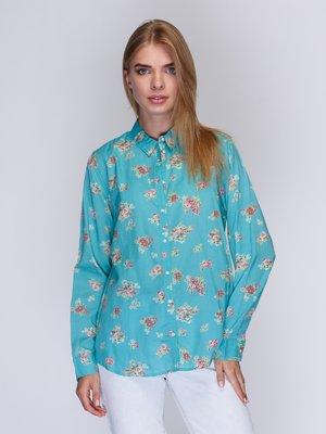 Сорочка бірюзова з квітковим принтом   3010017