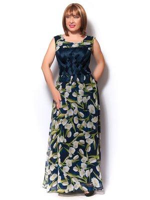 Платье синее в цветочный принт | 3436359